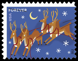 Reindeer in the Sky United States Postage Stamp | Santa and Sleigh