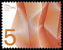 $5 Waves of Color - Orange United States Postage Stamp | Waves of Color