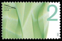 $2 Waves of Color - Green United States Postage Stamp | Waves of Color