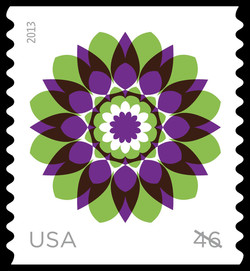 Green and Purple Kaleidoscope Flower United States Postage Stamp | Kaleidoscope Flowers