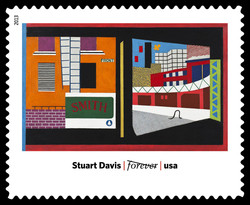 House and Street - Stuart Davis United States Postage Stamp | Modern Art in America 1913-1931