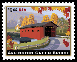Arlington Green Covered Bridge (Priority Mail) United States Postage Stamp