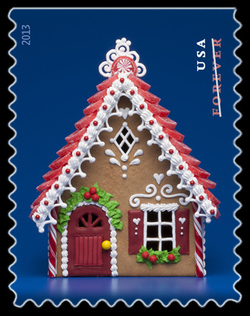 Gingerbread House - Red United States Postage Stamp | Gingerbread Houses