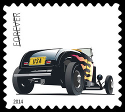 Black 1932 Ford Deuce Roadster United States Postage Stamp | Hot Rods