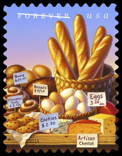 Baked Goods, Artisan Cheeses, and Eggs United States Postage Stamp | Farmers Markets