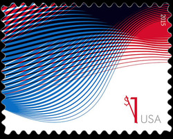 $1 Patriotic Waves United States Postage Stamp