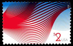 $2 Patriotic Waves United States Postage Stamp