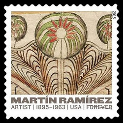 Horse and Rider With Trees - 1954 United States Postage Stamp | Martin Ramirez