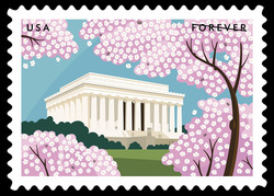 Lincoln Memorial With Cherry Blossoms United States Postage Stamp | Gifts of Friendship
