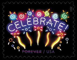 Neon Celebrate! United States Postage Stamp