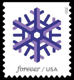 Purple Snowflake United States Postage Stamp | Geometric Snowflakes