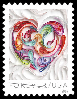Quilled Paper Heart United States Postage Stamp | Love