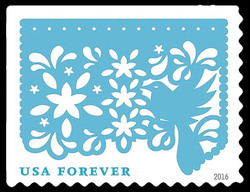 Light Blue Bird and Flowers United States Postage Stamp | Colorful Celebrations