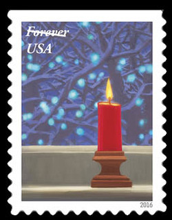 Candle United States Postage Stamp | Holiday Windows