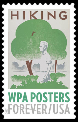 Hiking United States Postage Stamp | WPA Posters
