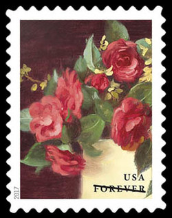 Red Camellias and Yellow Forsythia United States Postage Stamp | Flowers From the Garden