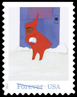 Peter Forming a Snowball United States Postage Stamp | The Snowy Day