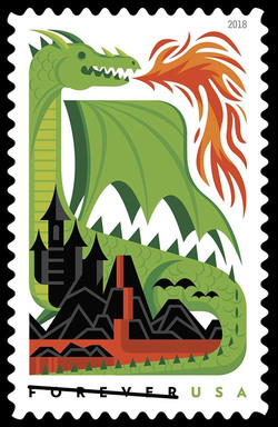 Green Fire-breathing Dragon United States Postage Stamp | Dragons