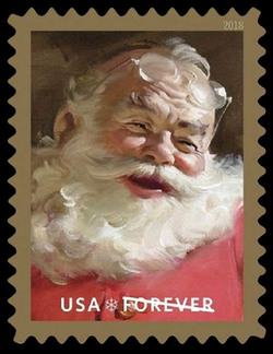 Santa Claus - Glasses on Forehead United States Postage Stamp | Sparkling Holidays - Haddon Sundblom