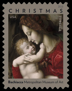 """""""Madonna and Child"""" by Bachiacca United States Postage Stamp"""