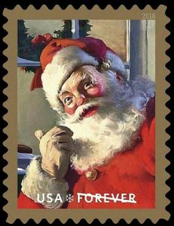 Santa Claus United States Postage Stamp   Sparkling Holidays - Haddon Sundblom