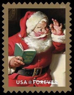 Santa Claus with Book United States Postage Stamp | Sparkling Holidays - Haddon Sundblom