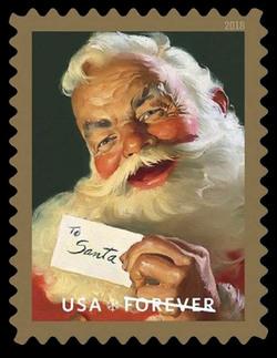 Santa Claus with Letter United States Postage Stamp | Sparkling Holidays - Haddon Sundblom