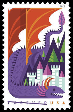 Purple Dragon United States Postage Stamp | Dragons