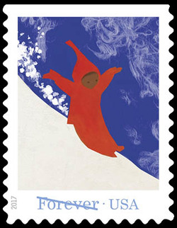 Peter Sliding Down a Mountain of Snow United States Postage Stamp | The Snowy Day