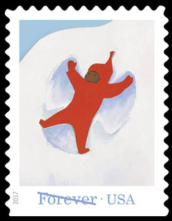 Peter Making a Snow Angel United States Postage Stamp | The Snowy Day