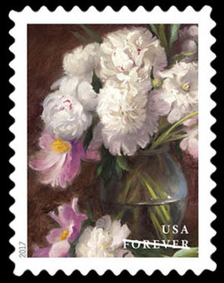 White Peonies and Pink Tree Peonies United States Postage Stamp | Flowers From the Garden