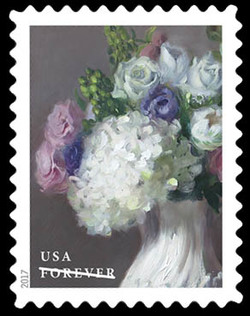 White Hydrangeas, White and Pink Roses, Green Hypericum Berries, and Purple Lisianthus United States Postage Stamp | Flowers From the Garden