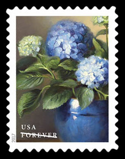 Blue Hydrangeas United States Postage Stamp | Flowers From the Garden