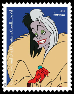 Cruella De Vil - One Hundred and One Dalmatians United States Postage Stamp | Disney Villains