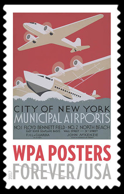 City of New York Municipal Airports United States Postage Stamp | WPA Posters
