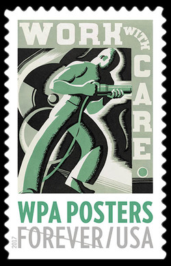 Work With Care United States Postage Stamp | WPA Posters