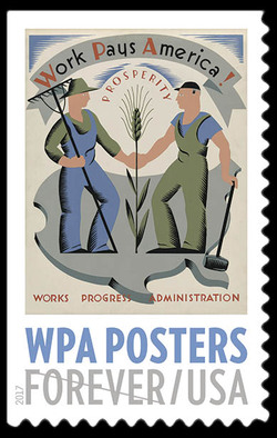 Work Pays America! Prosperity United States Postage Stamp | WPA Posters