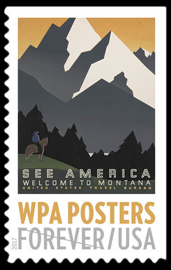 See America Welcome to Montana United States Postage Stamp | WPA Posters