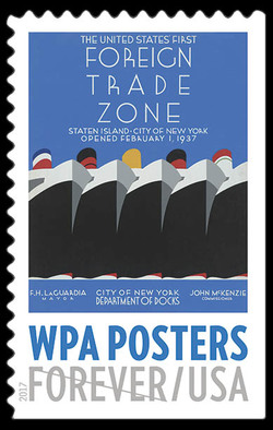 The United States' First Foreign Trade Zone United States Postage Stamp | WPA Posters