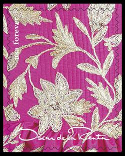 Pink Floral Pattern United States Postage Stamp | Oscar de la Renta