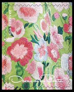 Green Floral Pattern United States Postage Stamp | Oscar de la Renta