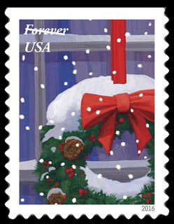 Christmas Wreath United States Postage Stamp | Holiday Windows