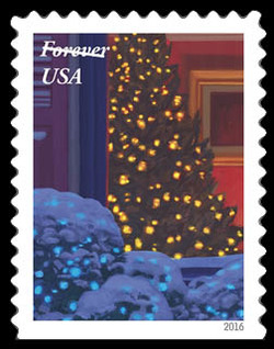 Christmas Tree United States Postage Stamp | Holiday Windows