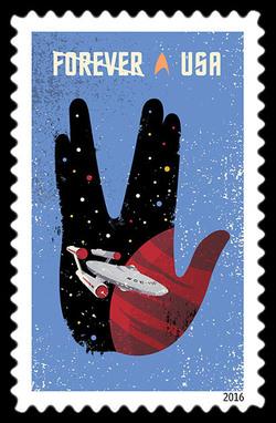 Starship Enterprise Inside a Vulcan Salute United States Postage Stamp | Star Trek