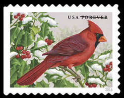 Northern Cardinal United States Postage Stamp | Songbirds in Snow