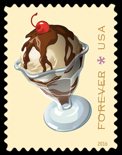 Hot Fudge Sundae United States Postage Stamp | Soda Fountain Favorites
