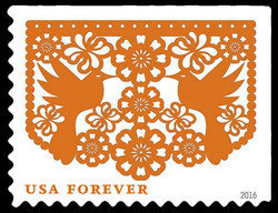 Orange Birds and Flowers United States Postage Stamp | Colorful Celebrations