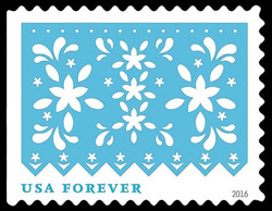 Light Blue Flowers United States Postage Stamp | Colorful Celebrations