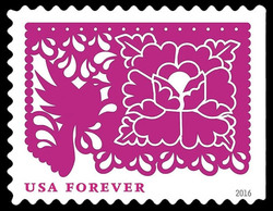 Pink Bird and Flower United States Postage Stamp | Colorful Celebrations