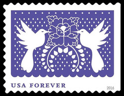 Purple Birds and Flower United States Postage Stamp | Colorful Celebrations